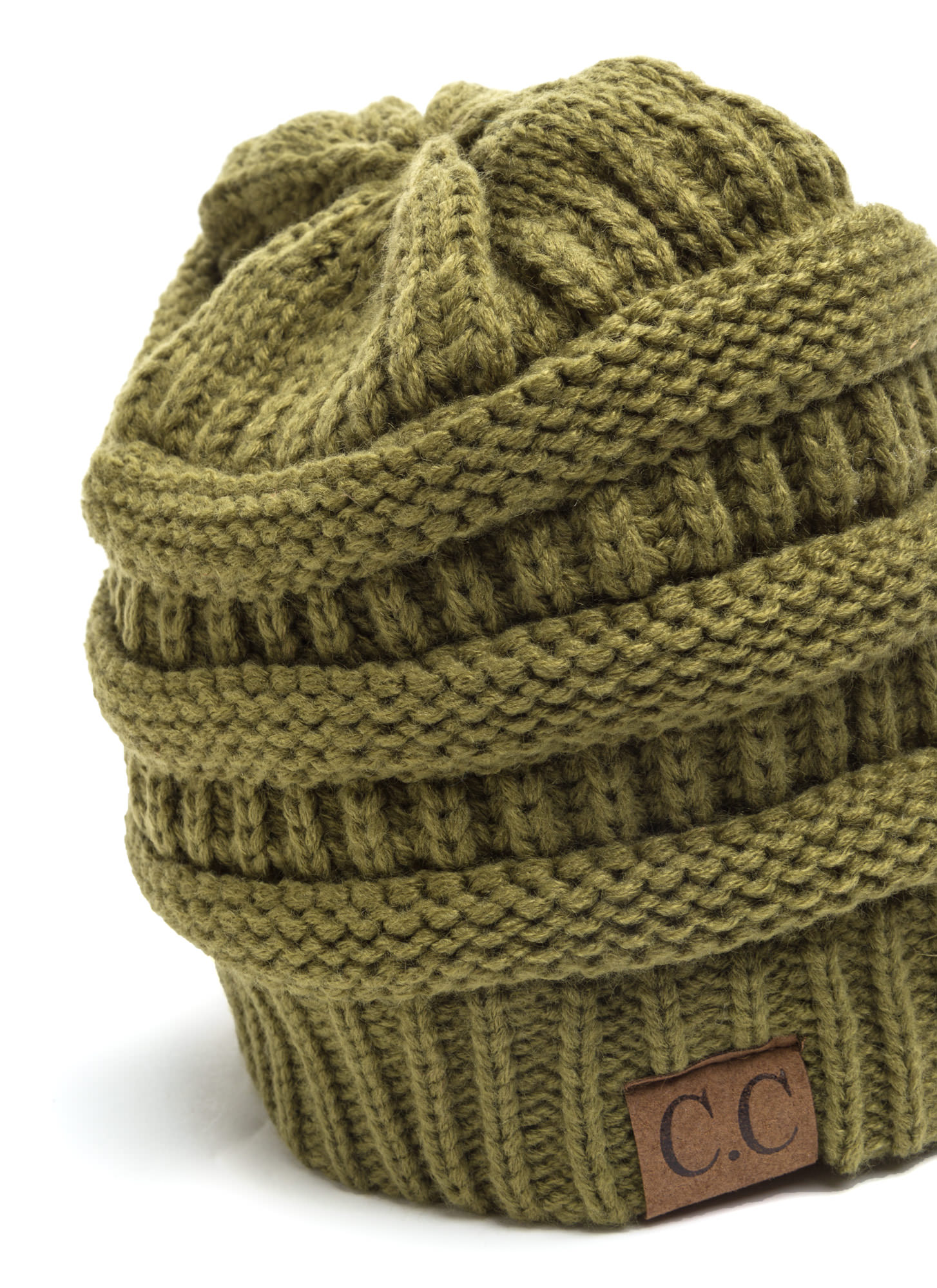 Cozy CC Cable Knit Beanie OLIVE (Final Sale)