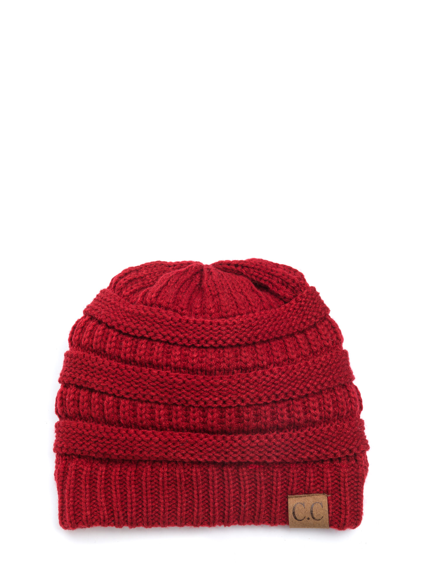CC Cable Knit Beanie RED