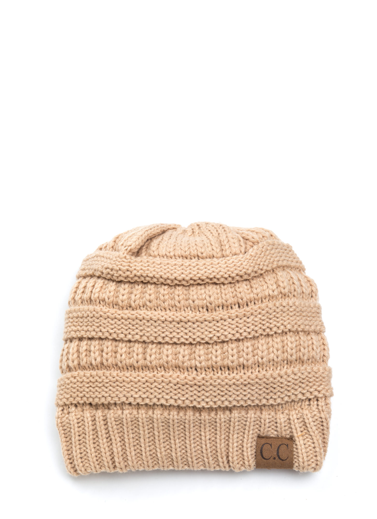 Cozy CC Cable Knit Beanie SAND (Final Sale)