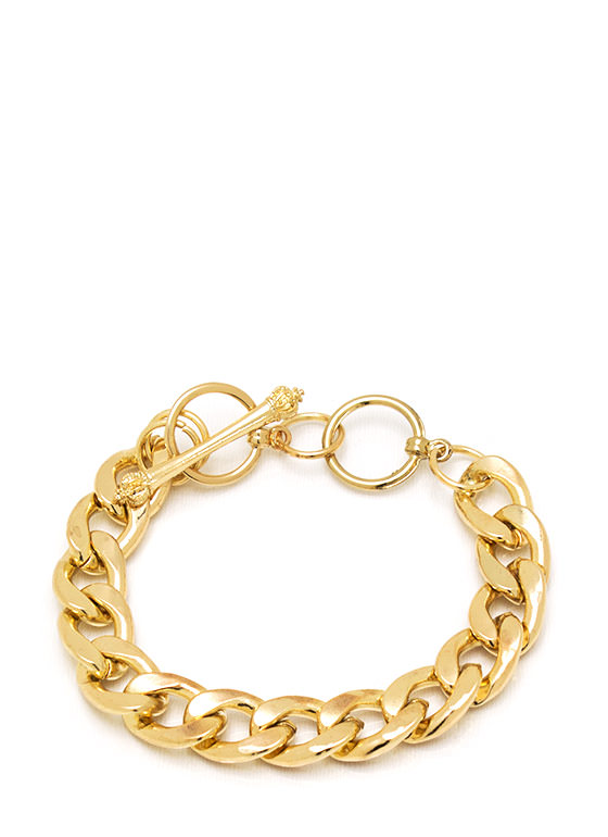 Chain Link Crown Toggle Bracelet GOLD