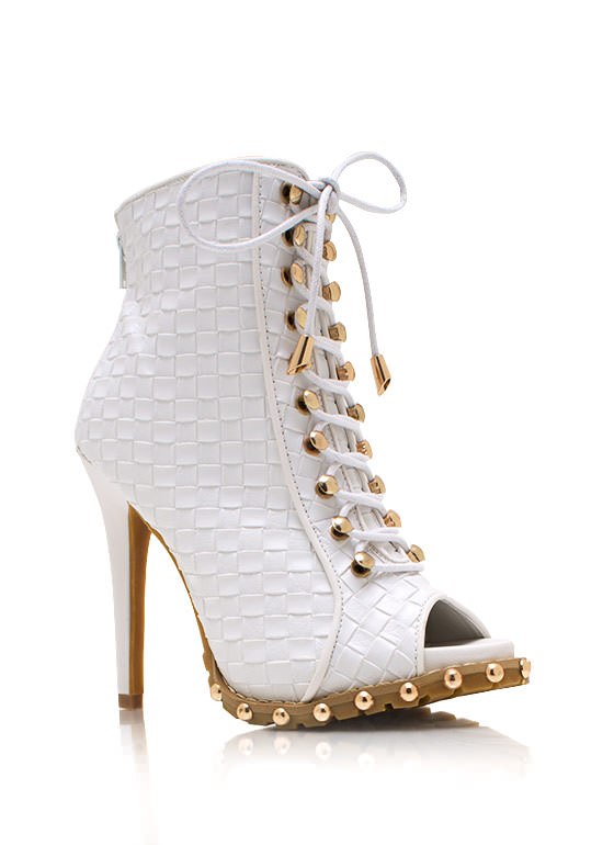 Weave Hello Lace Up Booties WHITE