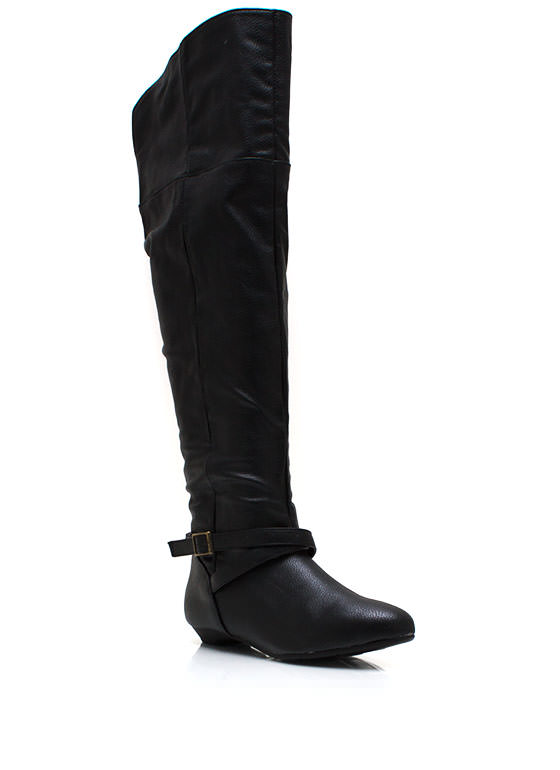 Buckle Up Knee High Boots BLACK