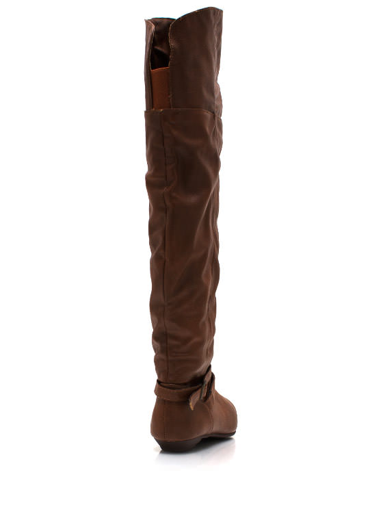 Buckle Up Knee High Boots CHESTNUT