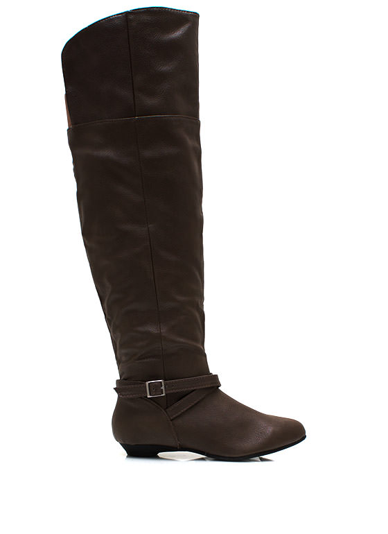 Buckle Up Knee High Boots TAUPE