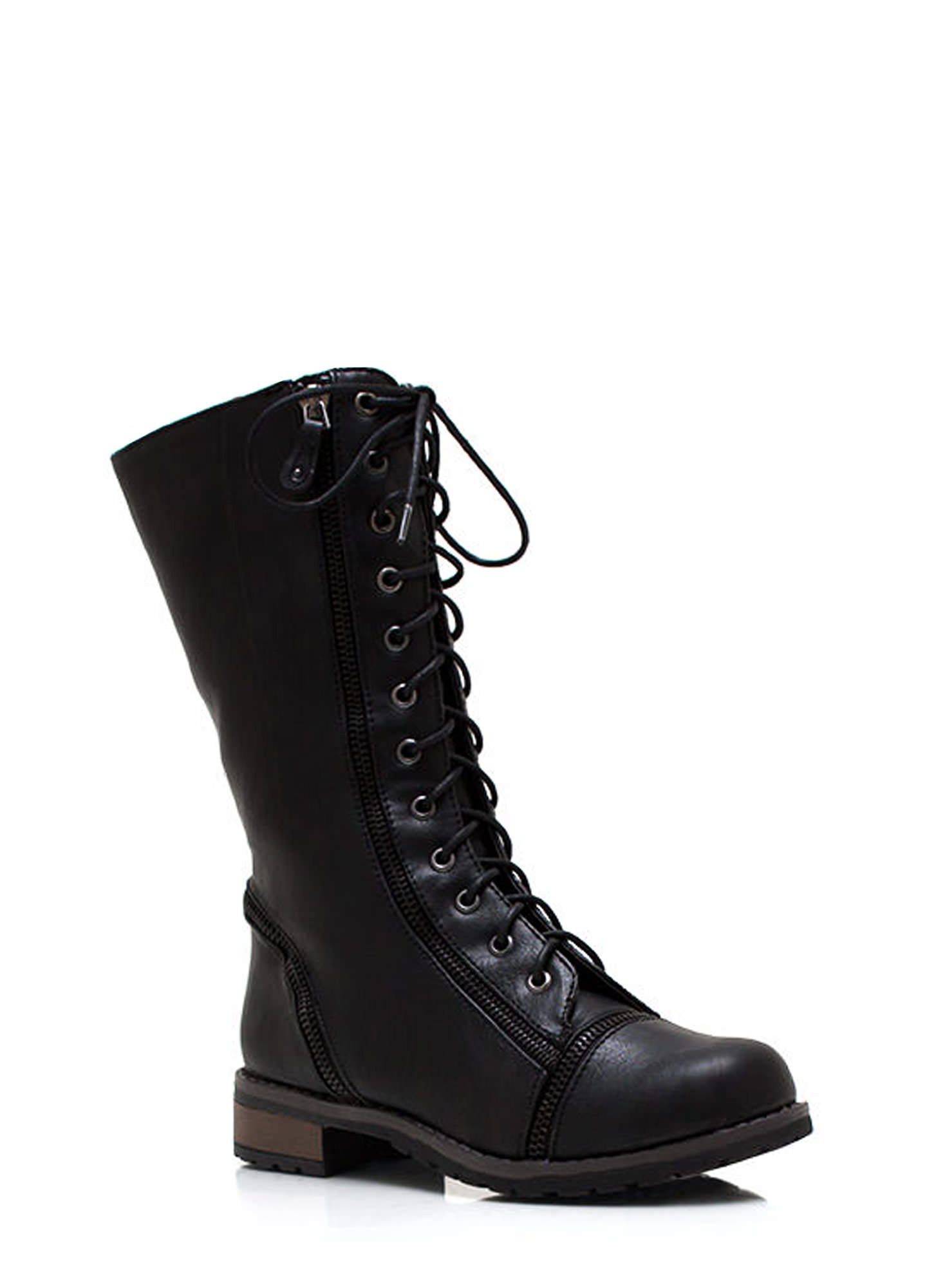 Lips Are Zipped Combat Boots BLACK