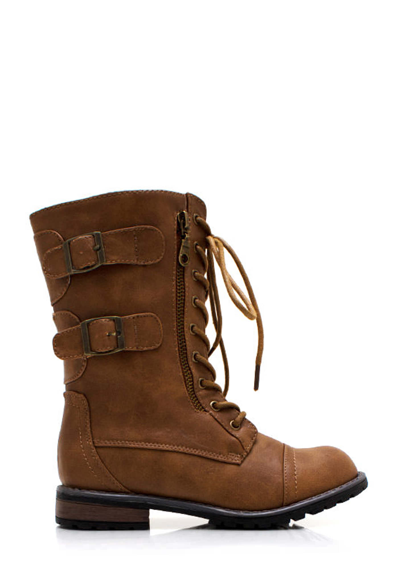 Buckled In Zippy Combat Boots CAMEL