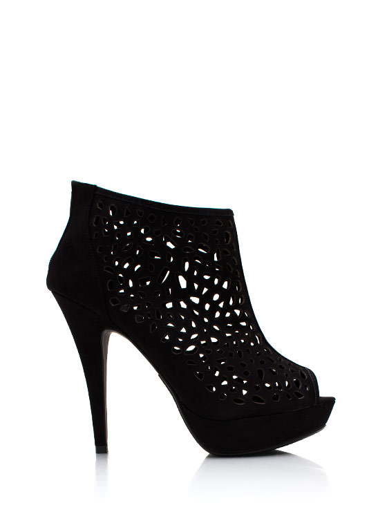 Pleased As Punched Peep Toe Booties BLACK