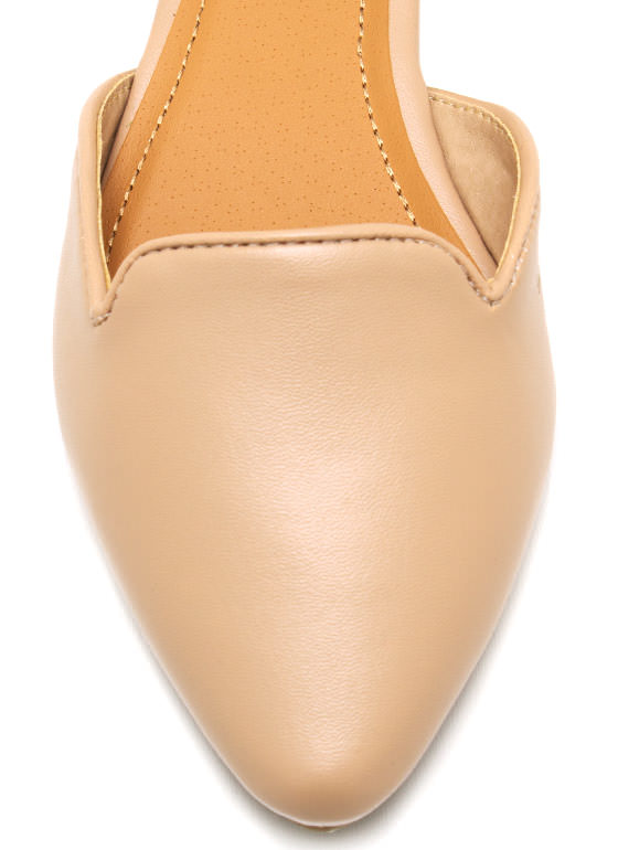 Faux Leather Pointy Toe Flats NUDE