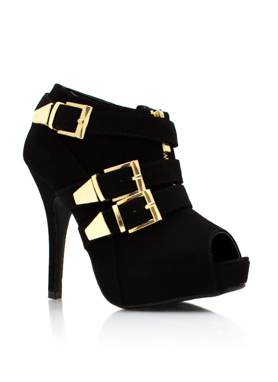 Triple Buckle Faux Nubuck Booties BLACK