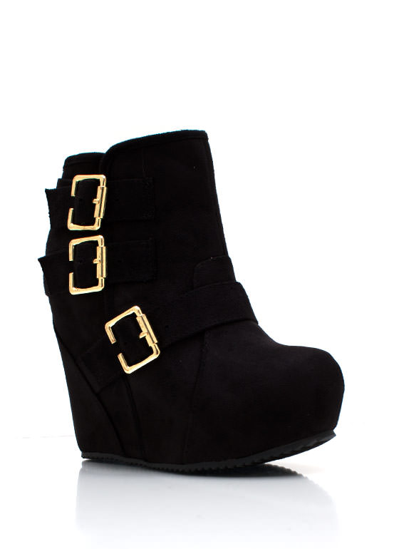 Bold Buckled Wedge Booties BLACK