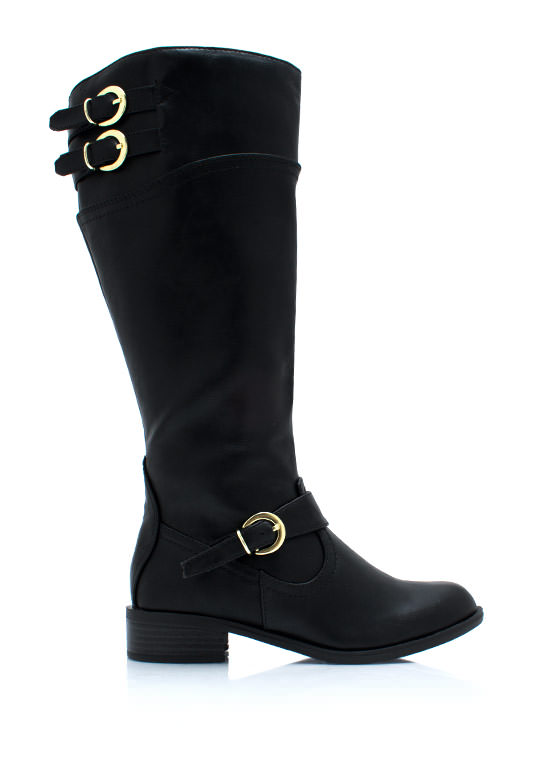 Buckle Down Two Tone Boots BLACK