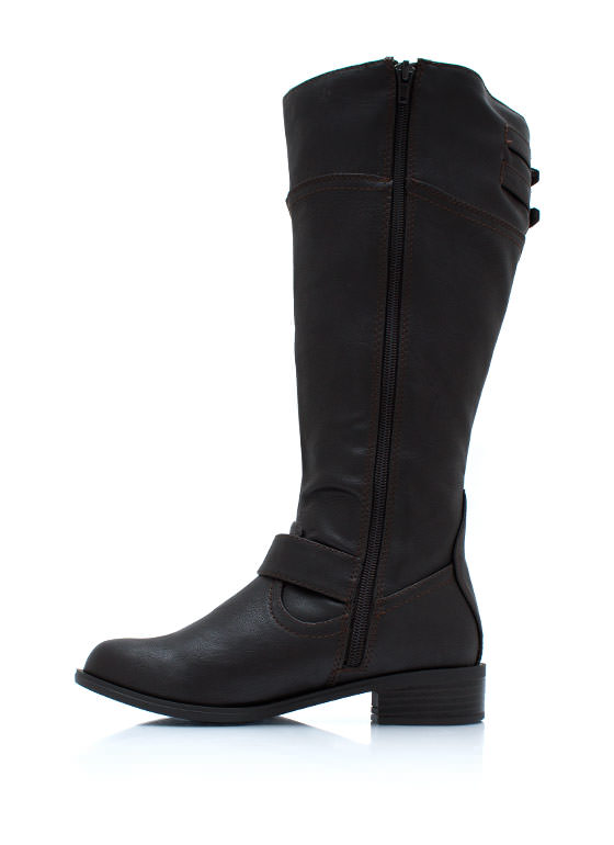 Buckle Down Two Tone Boots DKBROWN (Final Sale)