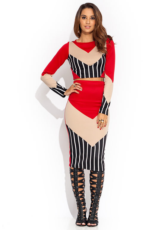 Stripe Out Chevron Pencil Skirt RED