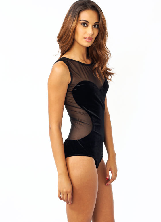 Meshing You Velvet Bodysuit BLACK