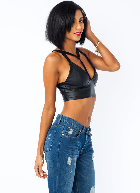 Strappy Hour Faux Leather Bra Top BLACK