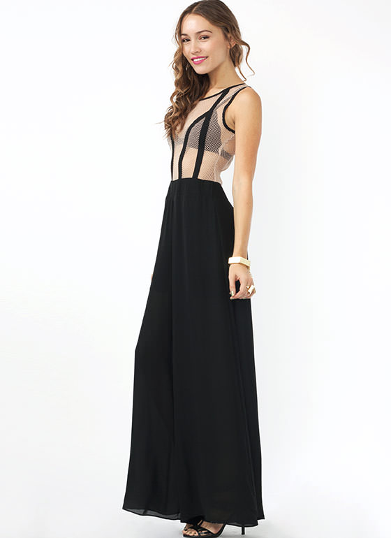 Serve The Net Mesh Jumpsuit NUDEBLACK