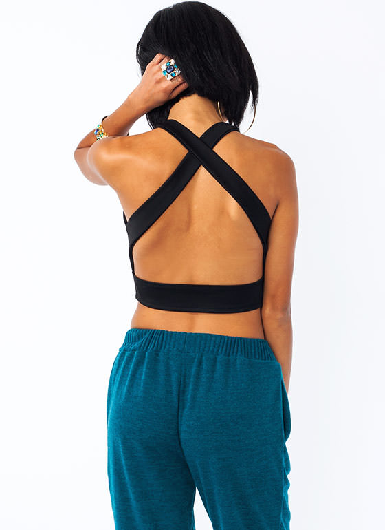 Crossing Over Cropped Tank BLACK
