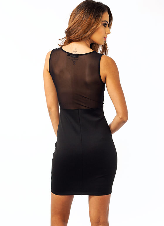 Plunging Mesh Inset Bodycon Dress BLACK