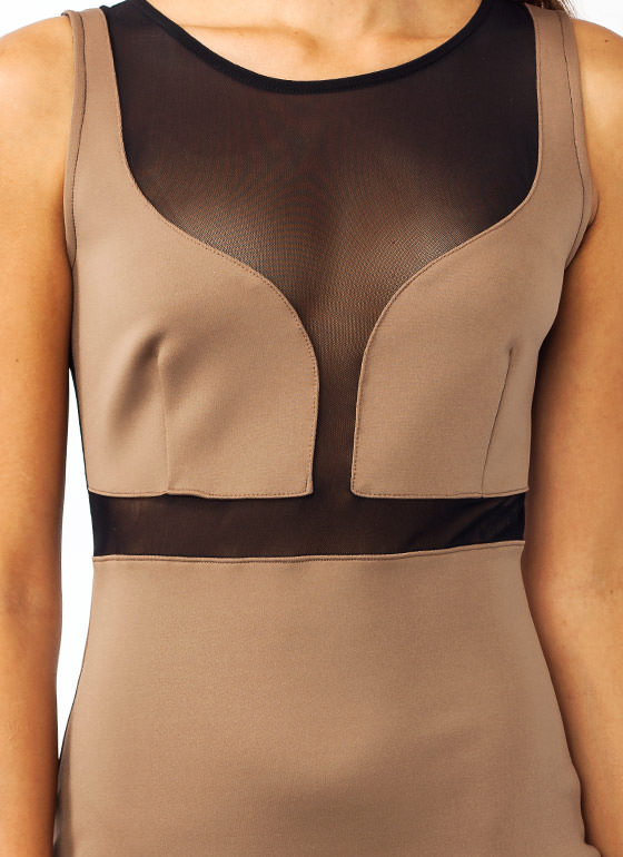 Plunging Mesh Inset Bodycon Dress MOCHA