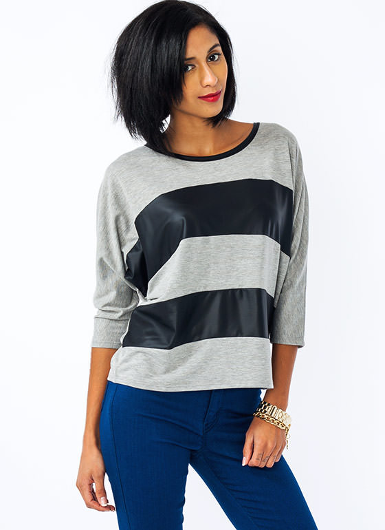 Faux Leather Striped Dolman Top HGREYBLACK