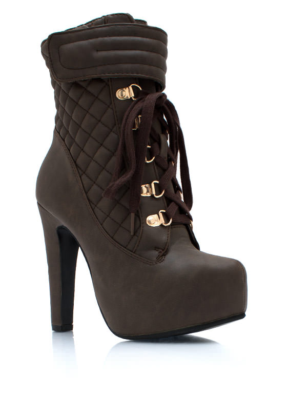 Quilty Conscience Faux Leather Booties BROWN