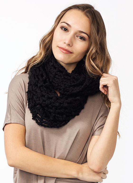 Cast Your Net Knit Infinity Scarf BLACK