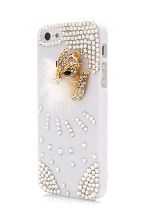 Furry Chipmunk Jeweled Phone Case WHITEGOLD