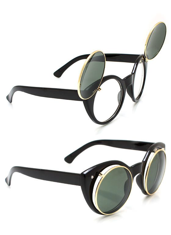 Around We Go Flip Up Sunglasses BLACKOLIVE