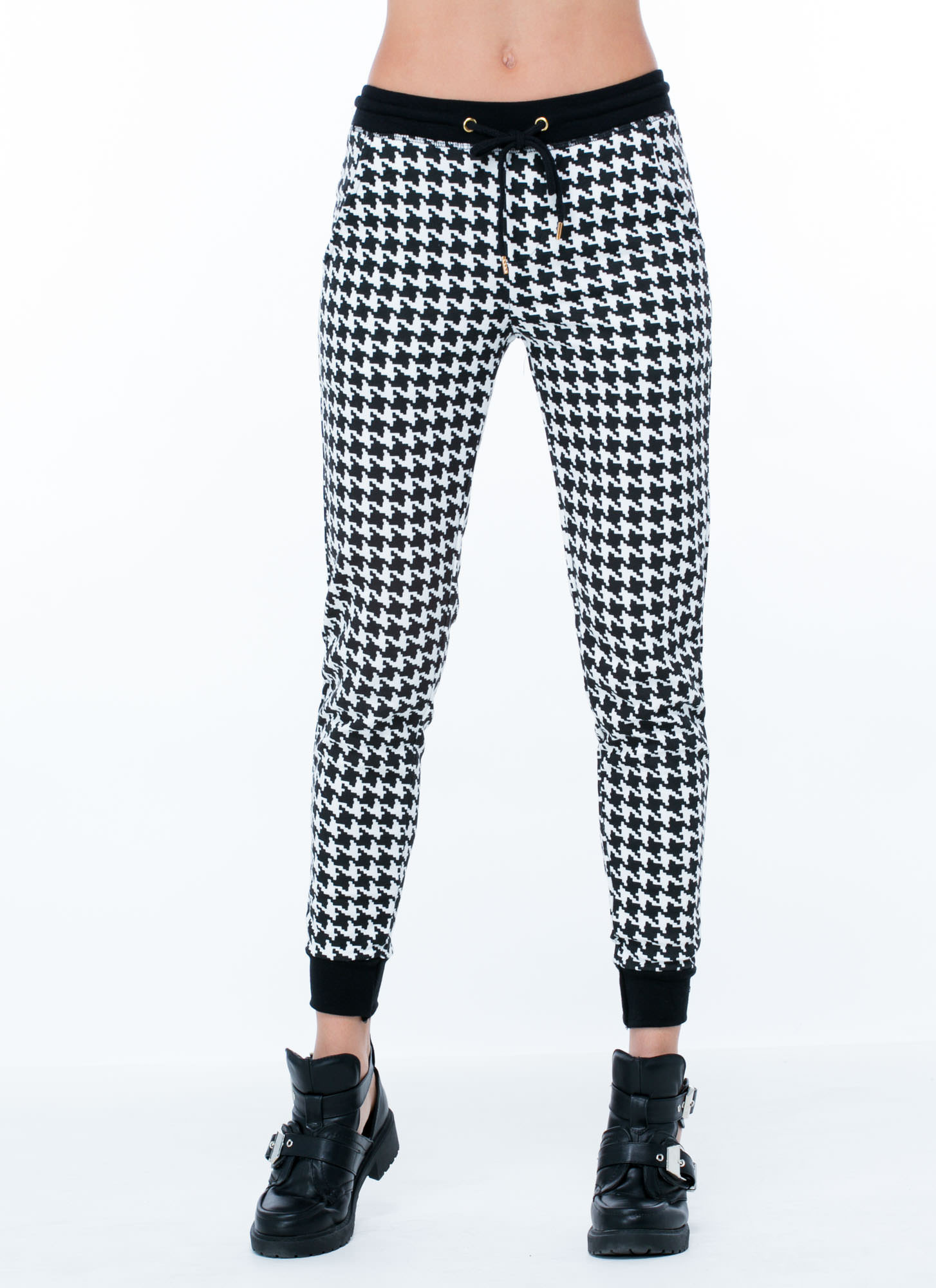 Release The Houndstooth Joggers BLACKWHITE