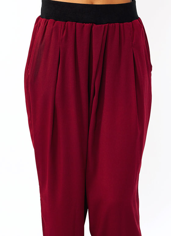 Pleated Woven Lounge Pants BURGUNDY