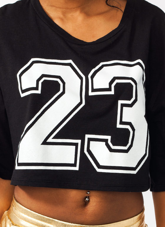 Star Athlete Cropped Jersey Tee WHITEBLACK