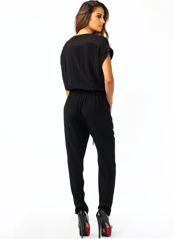 Collarless Zippy Jumpsuit BLACK