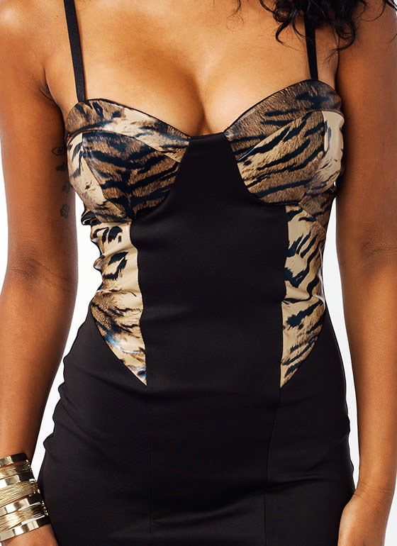 Tiger Bustier Bodycon Dress BLACKTAN