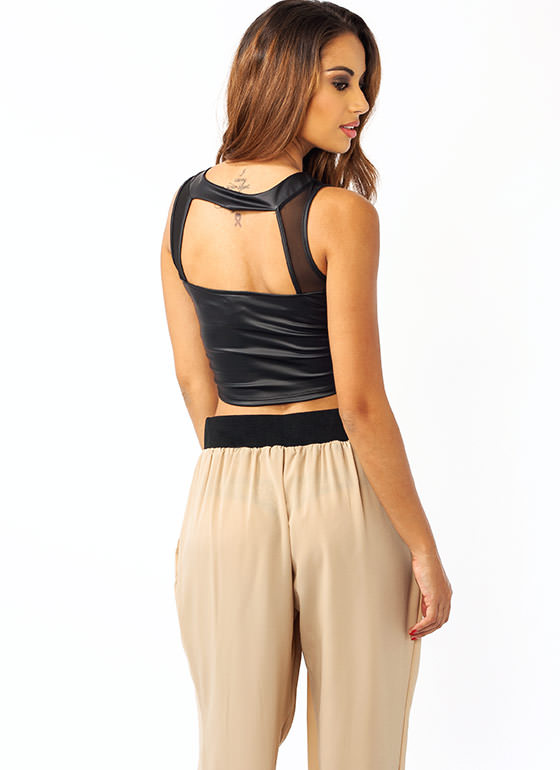 Strappy Mesh Inset Cropped Top BLACK