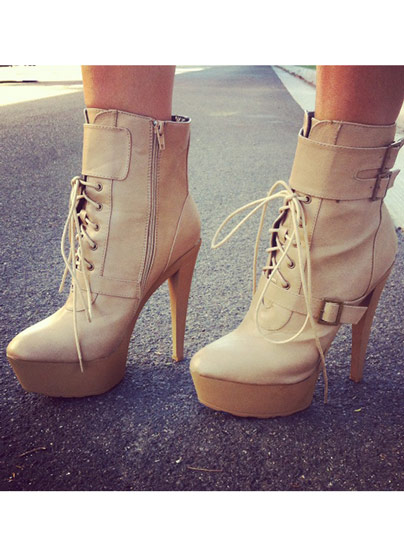 Triple Buckle Faux Leather Booties CAMEL