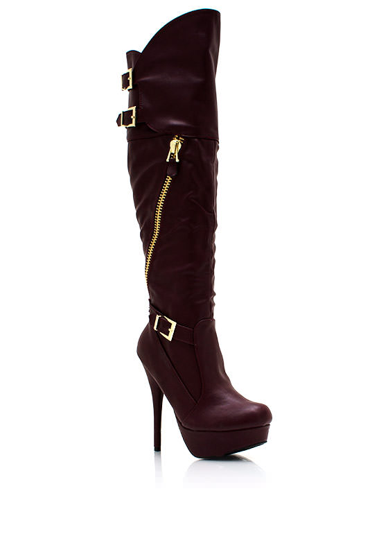 Take A Slant Zippered Platform Boots WINE
