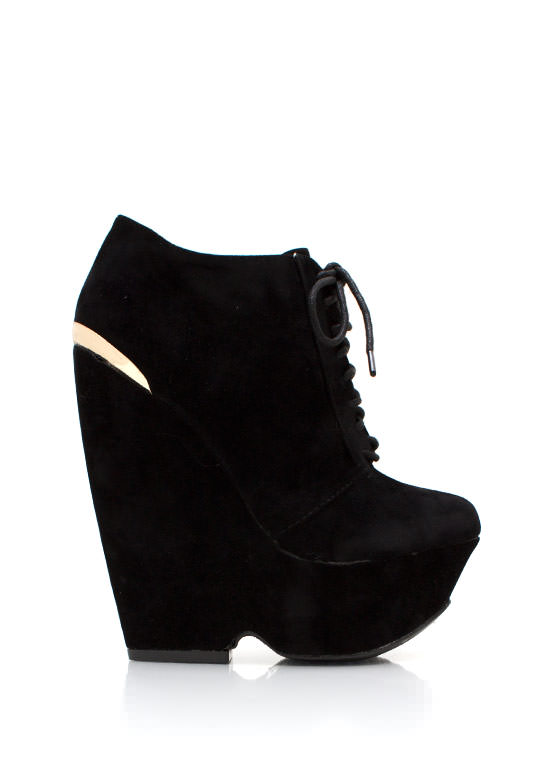 Laces More Platform Wedge Booties BLACK