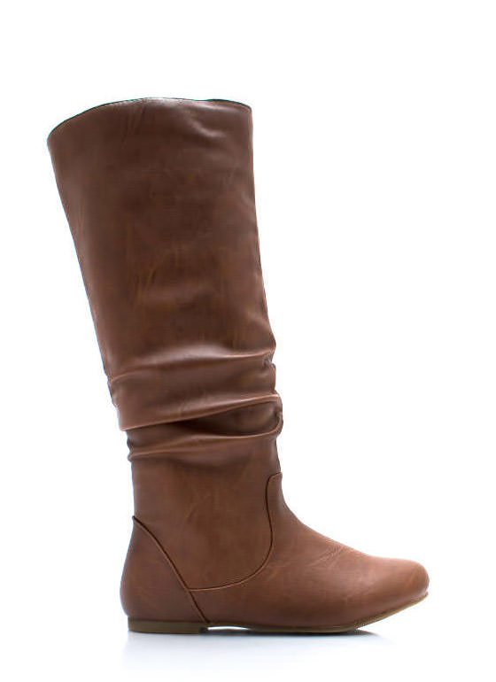 Do Slouch Faux Leather Boots CAMEL