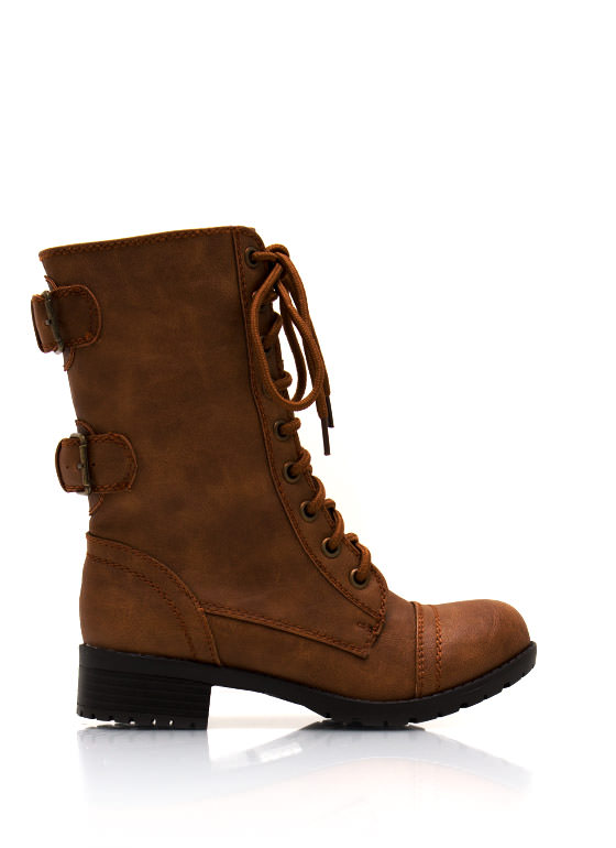 Do Get Combative Lace Up Boots CAMEL