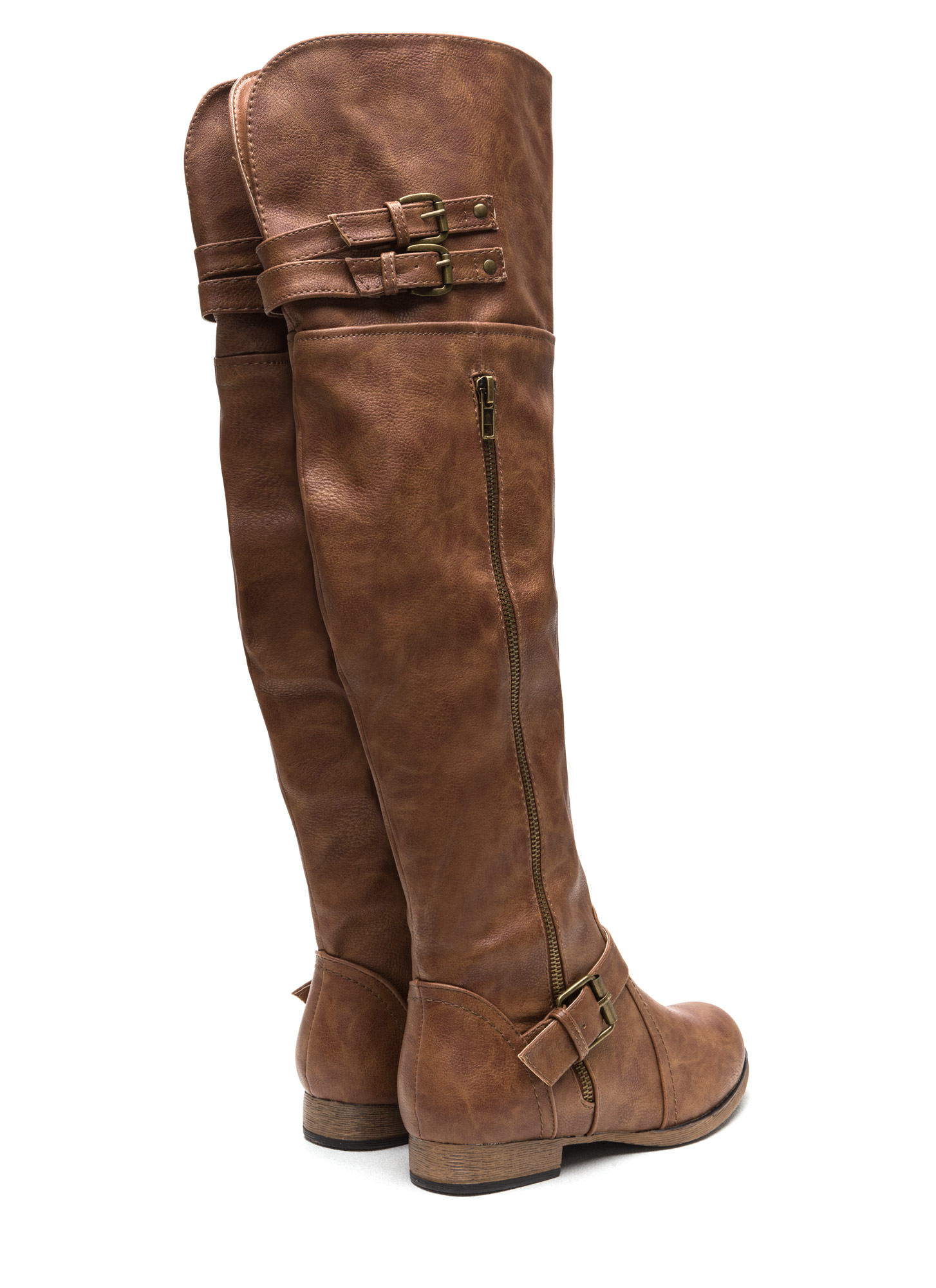 Walk Tall Buckled Boots COGNAC