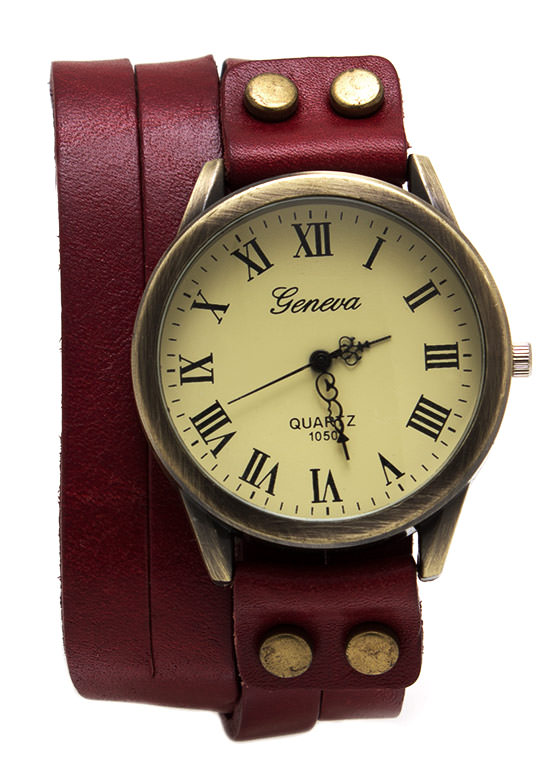 Antique Leather Wraparound Watch RED