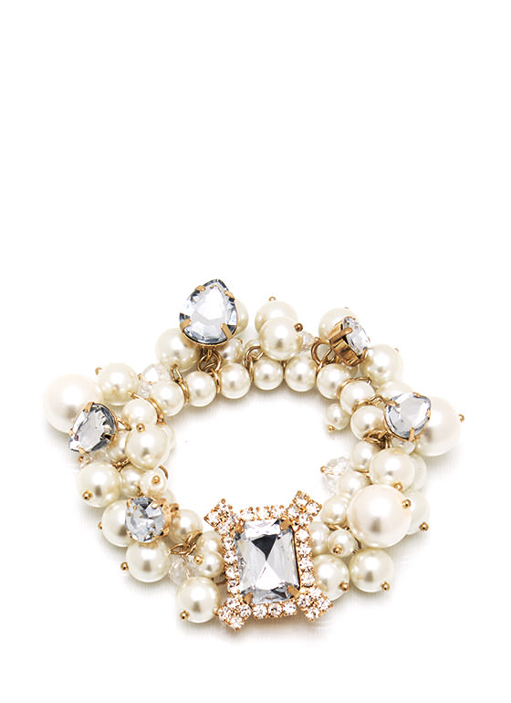 Fancy That Jeweled Pearl Bracelet IVORYGOLD