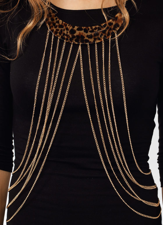 Leopard Crescent Body Chain GOLDBROWN