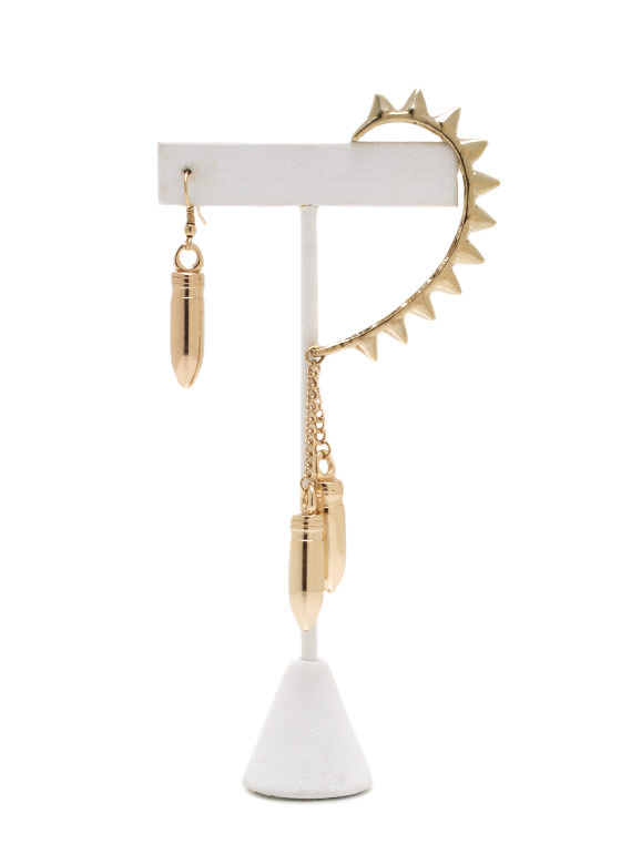 Bullet Points Spiked Ear Cuff GOLD