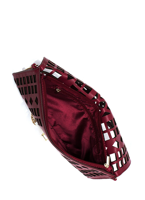 Shape Up Cut Out Clutch BURGUNDY