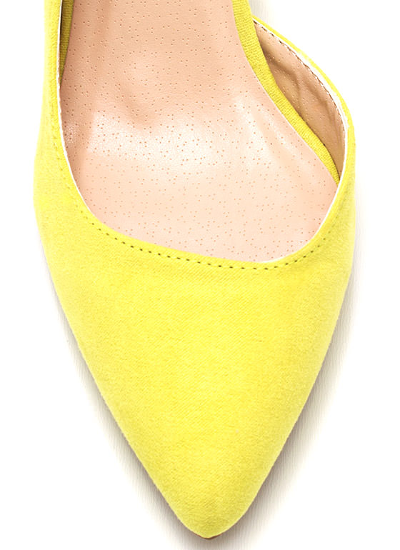 Flip Side Faux Suede Pumps LEMONLIME