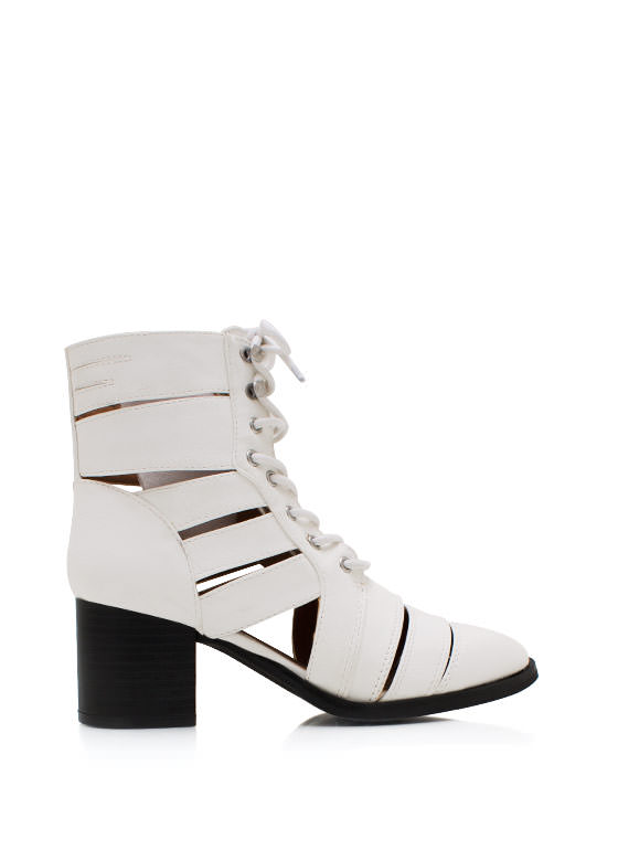 Strapped In Faux Leather Boots WHITE (Final Sale)