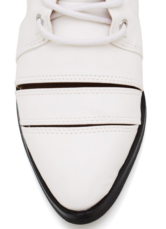 Strapped In Faux Leather Boots WHITE