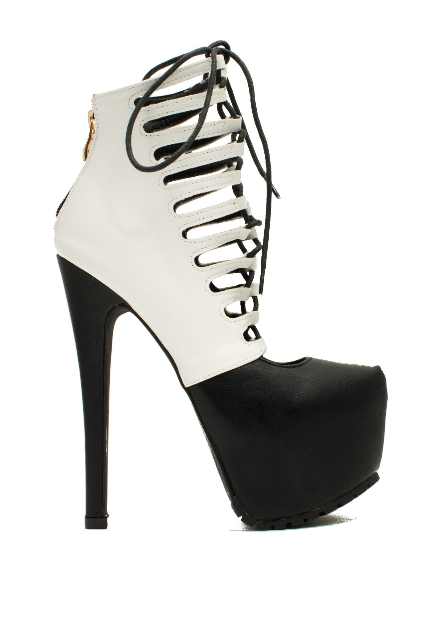 Caged Corset Booties BLACKWHITE