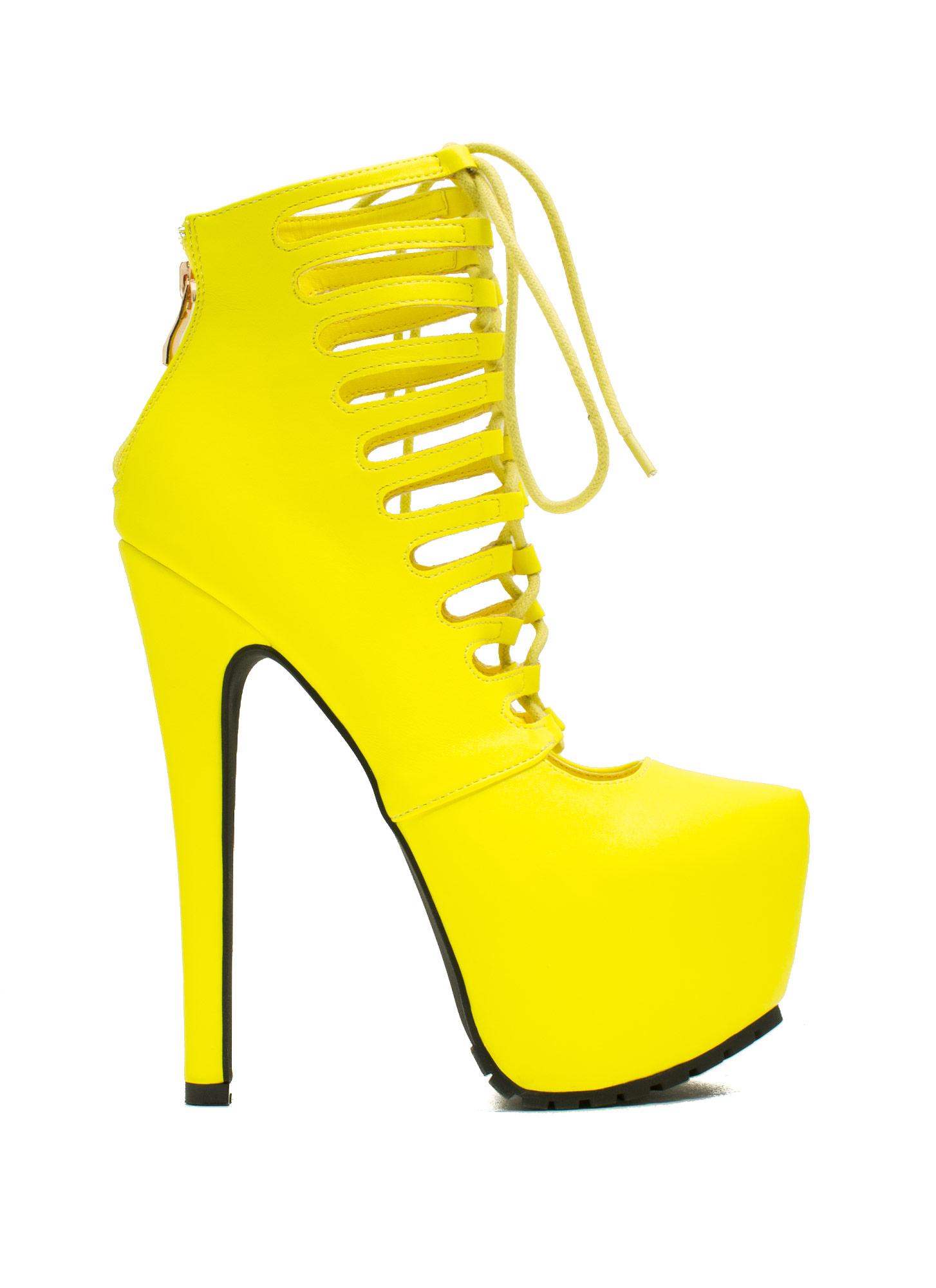 Caged Corset Booties NEONYELLOW